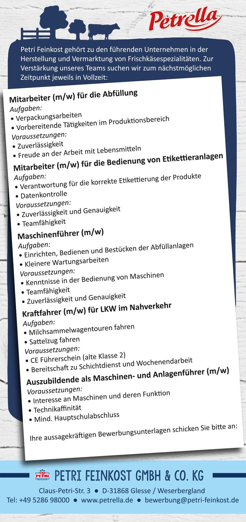 karriere bei petri feinkost - Bewerbung Als Maschinenfuhrer